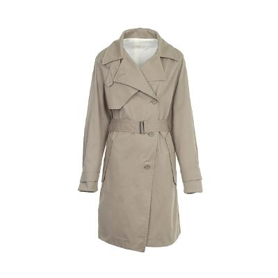 belted cotton trench coat beige